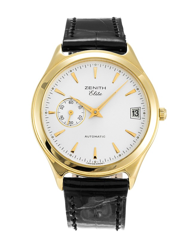 Zenith Elite 680 Yellow Gold Case Black Croro Strap Watch--