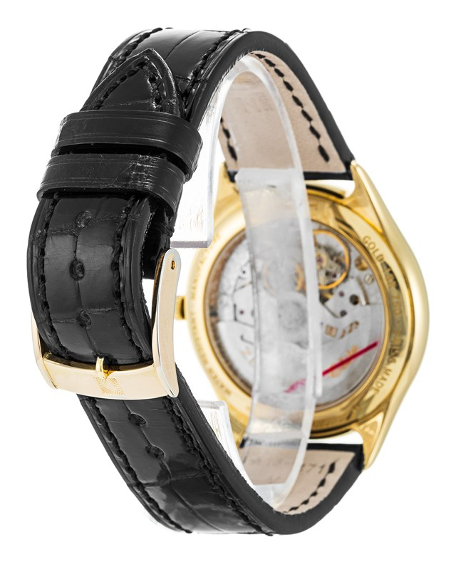 Zenith Elite 680 Yellow Gold Case Black Croro Strap Watch