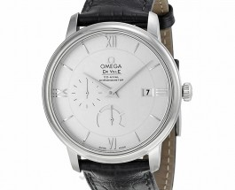 White Dial Omega De Ville Fake Watches With Black Leather Straps