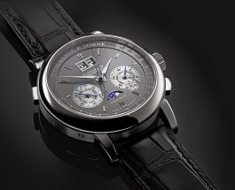 Best Dark Grey A. Lange & Söhne Datograph Datograph Perpétuel White Gold Alligator Strap Replica Watch ref.410.038