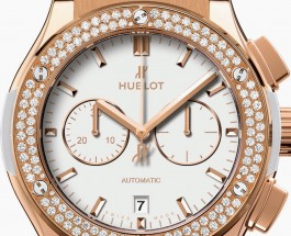 42mm Rose Gold Hublot Classic Fusion Chronograph White Replica Watch