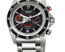 Tudor Grantour Chrono Fy-back Black Dial Steel Replica Watches