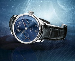 Replica IWC Portuguese Annual Calendar Blue Dial Steel Watch– In Top Grade Quality