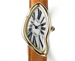Best Quality Cartier Crash Fake Watches With Brown Leather Straps