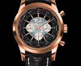 Best breitling transocean chronograph unitime watch rose gold with black dial replica watch