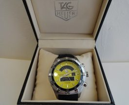 Yellow Dial Tag Heuer Aquaracer Analog Digital Replica Watch