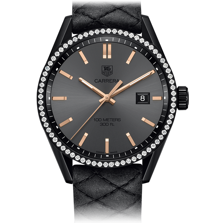 Tag Heuer Carrera Cara Delevingne Special Edition 41mm Replica Black Leather Strap Titanium Watches