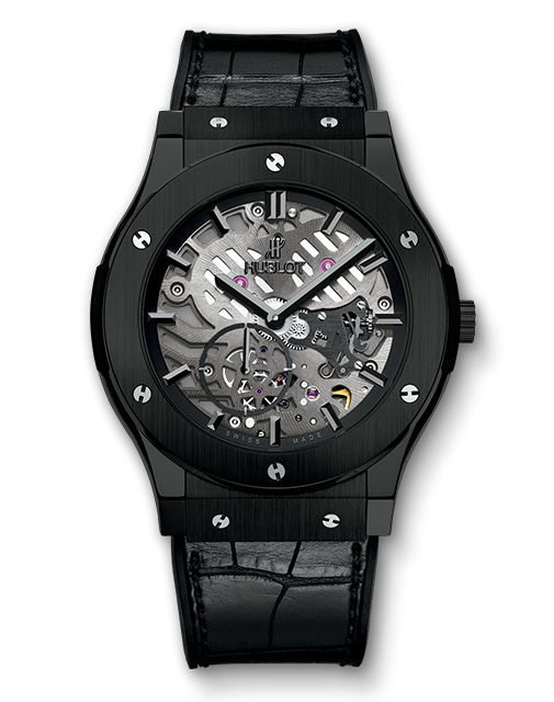 Copy Hublot Classic Fusion Ultra-Thin Skeleton All Black Watches