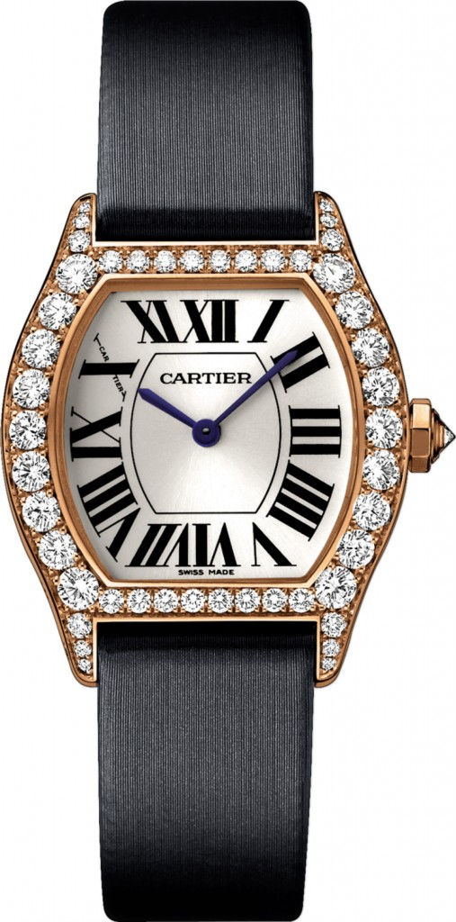Imitational Cartier Tortue Black Fabric Strap Rose Gold Diamonds Watches