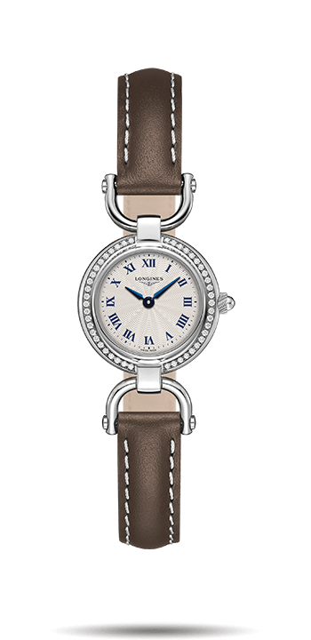 Diamonds Bezel Longines Equestrian Fake Watches With Brown Leather Straps