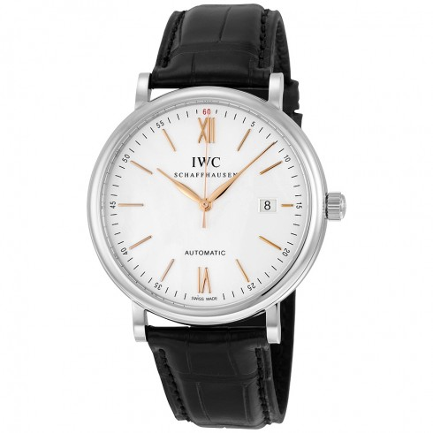 Steel Case IWC Portofino Fake Watches With Black Alligator Straps