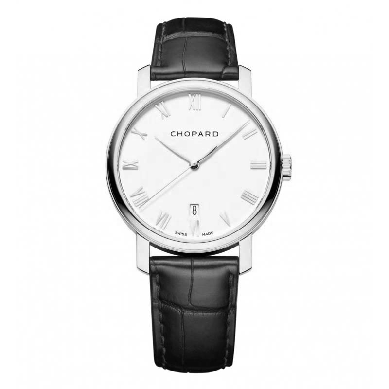 White Dial Black Leather Chopard Replica Watch