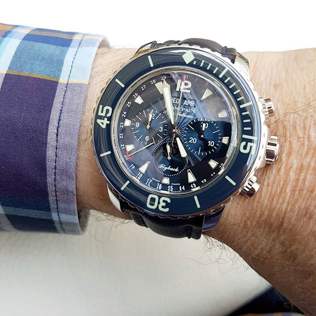 Steel case blue dial blancpain fifty fathoms chronograph flyback quantième complet replica watch
