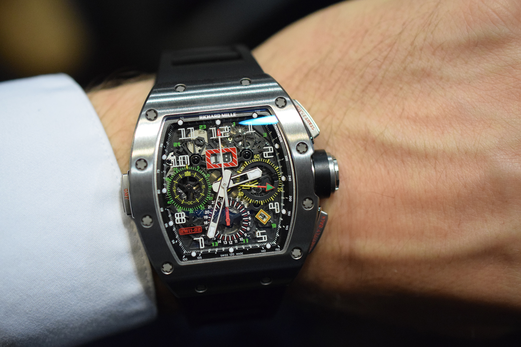 Richard Mille RM 11-02 Flyback Chronograph Dual Time Zone Jet Black Limited Edition Replica Watch